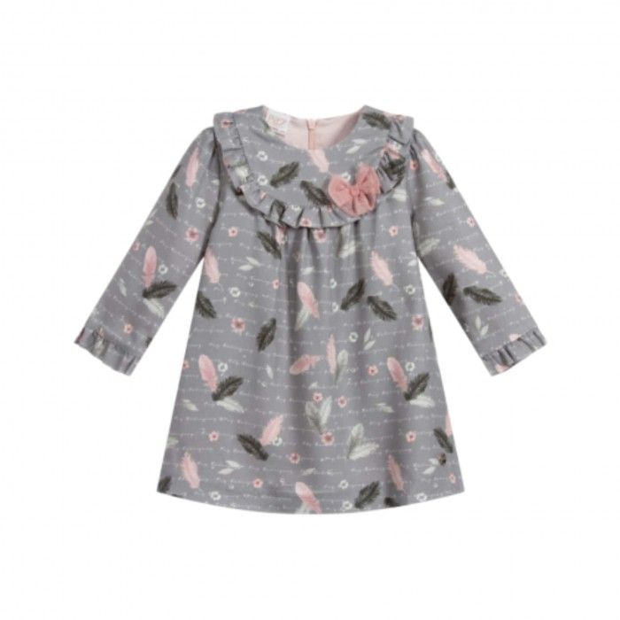 Girls Grey Print Dress