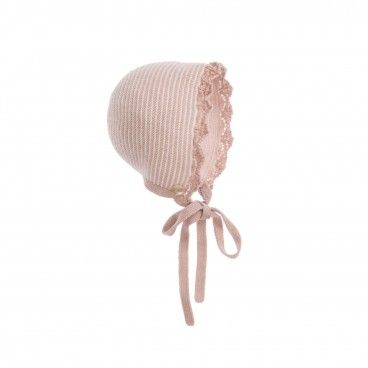 Paz Baby Pink Knitted Bonnet