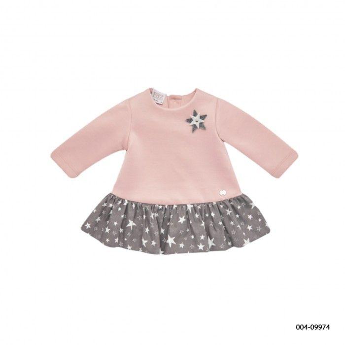 Girls Pink & Grey Jersey Dress