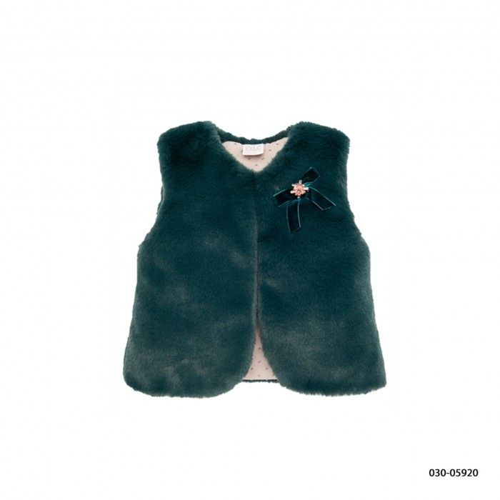 Green Fur Girl Waistcoat