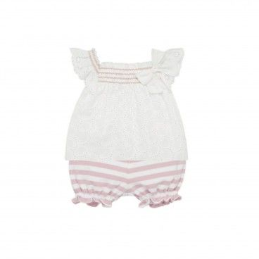 White & Pink Baby Shorts Set