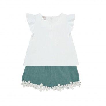 Girls White & Green Shorts Set