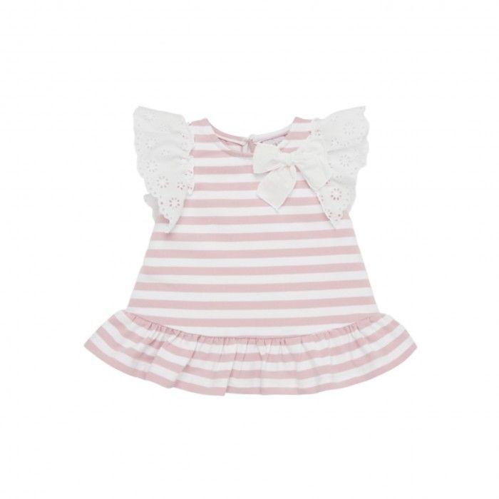 Pink Cotton Striped Dress