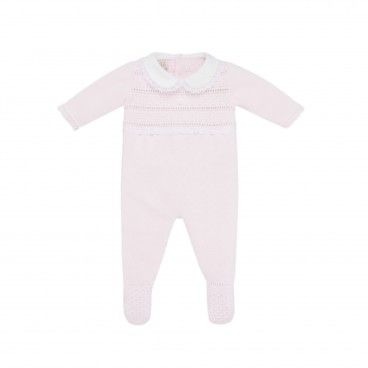 Pink & White Knitted Babygrow