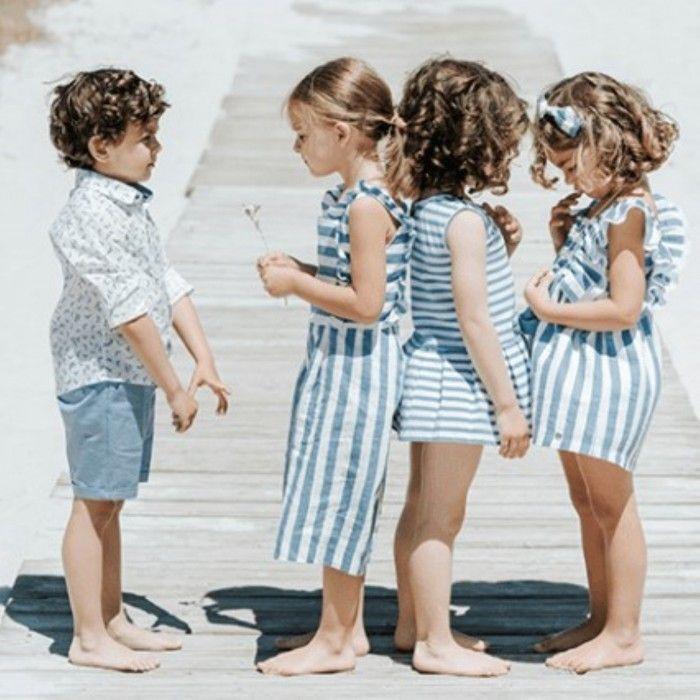 Girls Blue Cotton Jumpsuit