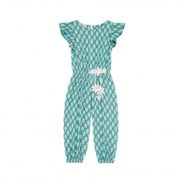 Girls Green Cotton Jumpsuit