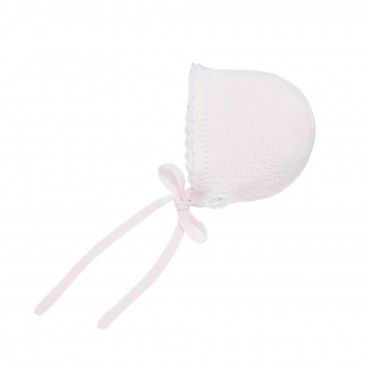 Pink & White Knitted Baby Bonnet
