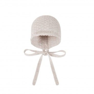 Beige Knitted Baby Bonnet