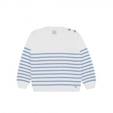 Boys White & Blue  Cotton Sweatshirt