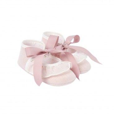 Girls Pink Cotton Pre-Walker Shoes