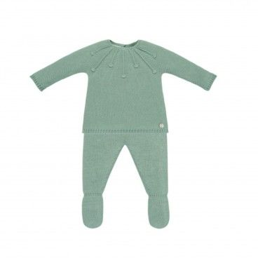 Mint Gren Knitted 2 Piece Babysuit