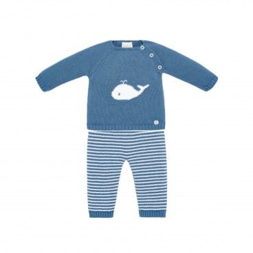 Blue Artic Knitted 2 Piece Babysuit