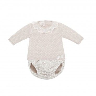 Beige 2 Piece Baby Shorts Set