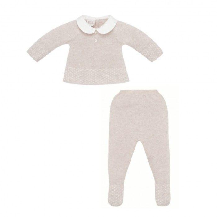 Beige 2 Piece Baby Boy Trousers Set