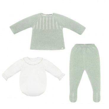 Conjunto Bebé 3 Peças Verde Menta
