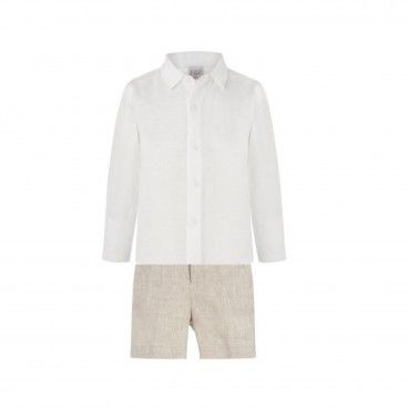 Boys Beige Linen Shorts Set