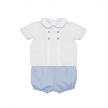 Conjunto Bebé Camisa & Calção Azul