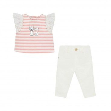 Girls Pink & White Trousers Set