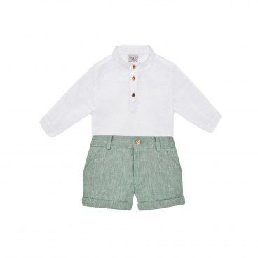 Boys White & Green Shorts Set