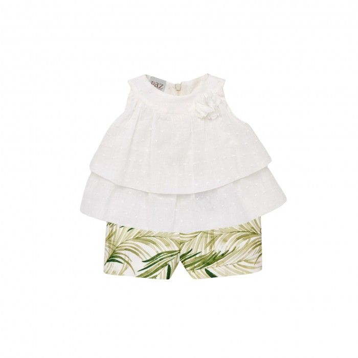 Girls Olive Green & Cream  Set