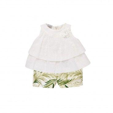 Girls Olive Green & Cream  Set