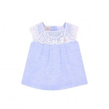 Vestido Azul Menina Linho