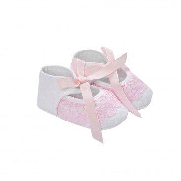 Sapato Renda Branco & Rosa