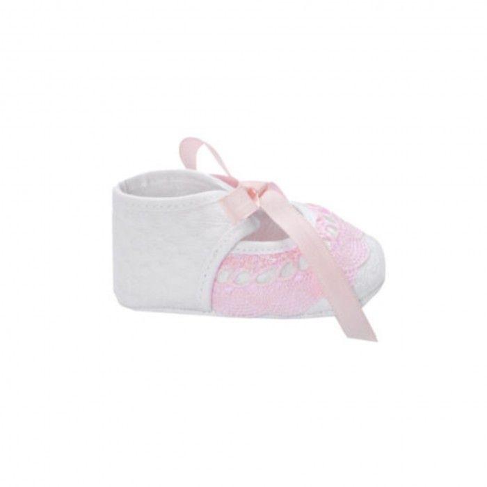 Girls White &  Chalk Pink Pre-Walker Shoes