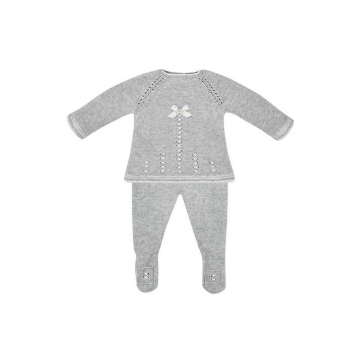 Girls Grey  Knitted 2 Piece Babygrow