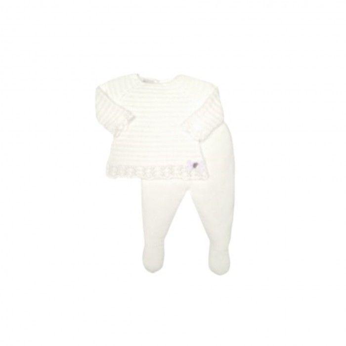 Cream Knitted 2 Piece Babygrow