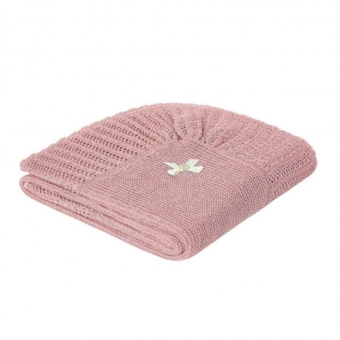 Mist Pink Knitted Baby Blanket