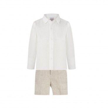 Boys Beige Linen Shorts Set