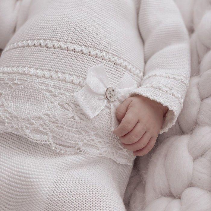 Beige Cotton Knit Babysuit
