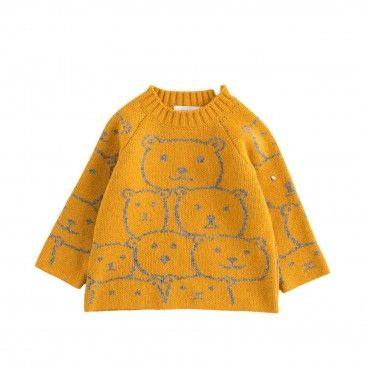 Mustard Bear Baby Sweater