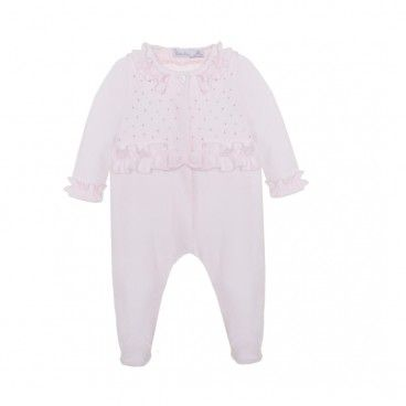 Pale Pink Velour Babygrow