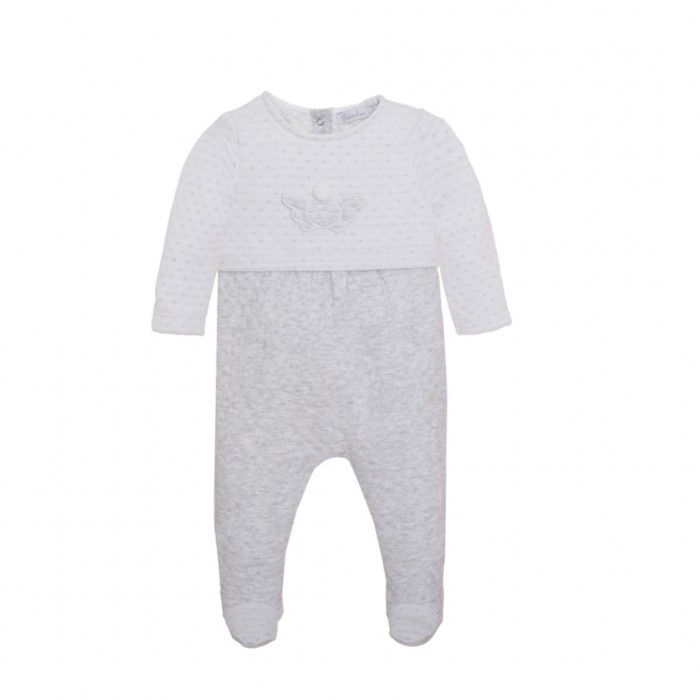 Babygrow Veludo Branco & Cinzento