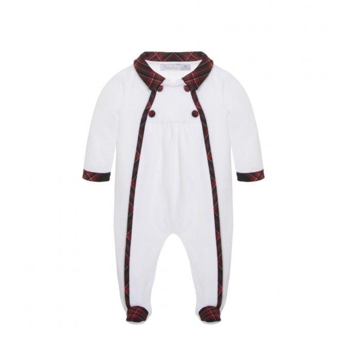 Baby White Tartan Babygrow
