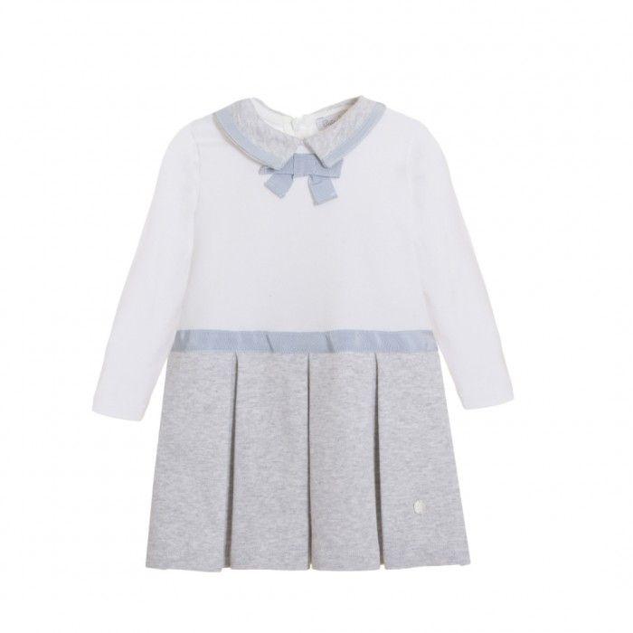 White & Grey Cotton Dress