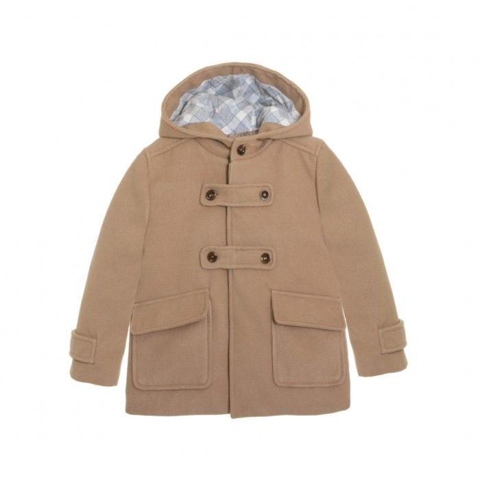 Boys Beige Wool Coat