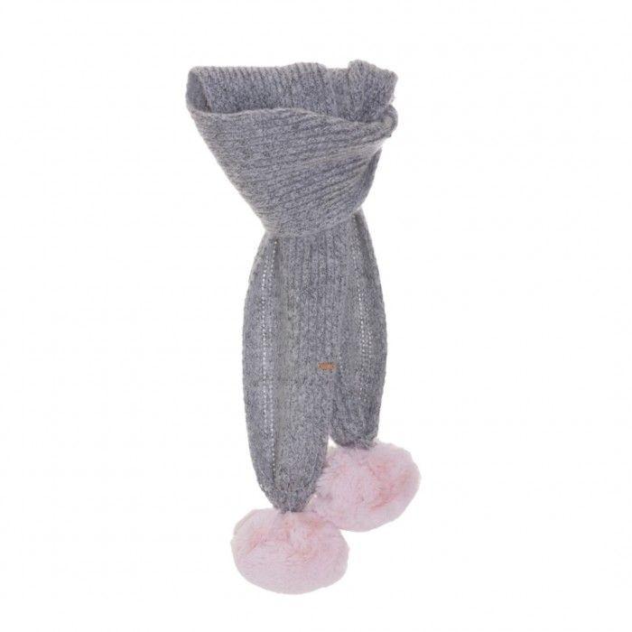 Grey & Pink Pom-Pom Scarf