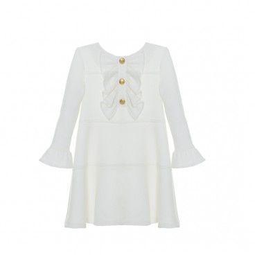 Vestido Folhos Menina Branco
