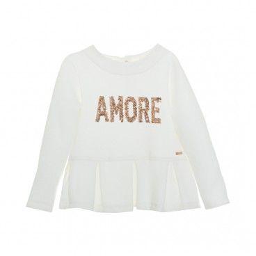 Girls White & Gold Cotton T-Shirt