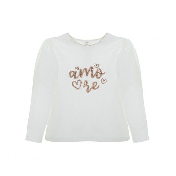 T-Shirt Menina Branca & Dourada