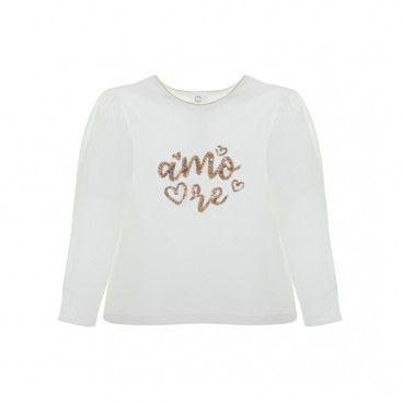 Girls White & Gold T-Shirt
