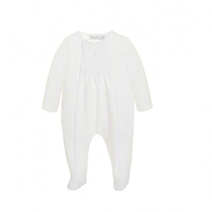 Patachou White Velour Babygrow