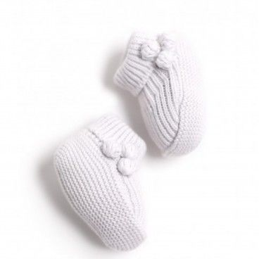 Pale Blue Knit Bootees