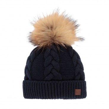 Blue Navy Cotton & Wool Pom-Pom Hat
