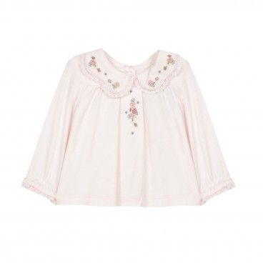 Pale Pink Embroidery Blouse