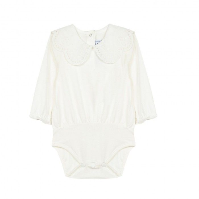 White Embroidered Baby Body