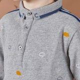 Boys Grey Cotton Polo